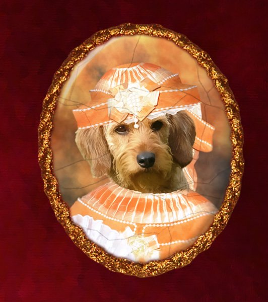 Fawn Brittany Basset Jewelry Brooch Handcrafted Ceramic - Noble Lady