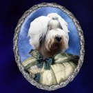 Old English Sheepdog Jewelry Brooch Handcrafted Ceramic - Noble Lady