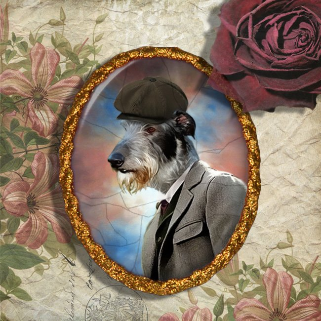 Scottish Deerhound Jewelry Brooch Handcrafted Ceramic - Gentleman