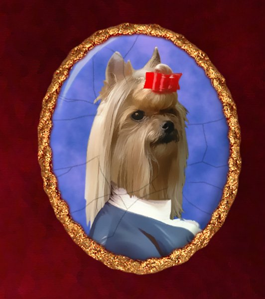 Yorkshire Terrier Jewelry Brooch Handcrafted Ceramic - Baron