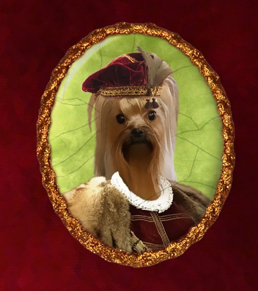 Yorkshire Terrier Jewelry Brooch Handcrafted Ceramic - Young Duke