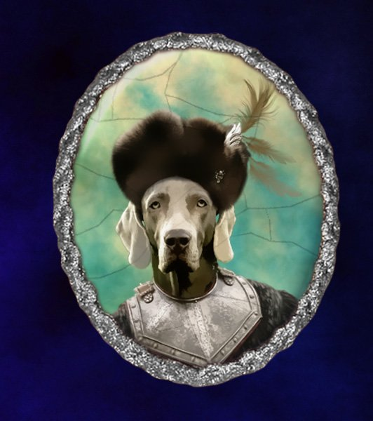 Weimaraner Jewelry Brooch Handcrafted Ceramic - Russian Duke