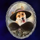 Welsh Corgi Pembroke Jewelry Brooch Handcrafted Ceramic - Noble Lady