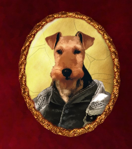 Welsh Terrier Jewelry Brooch Handcrafted Ceramic - Tudor Duke
