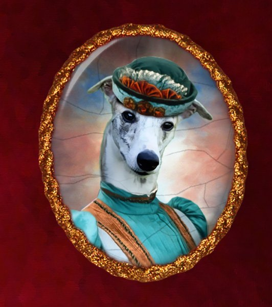 Whippet Jewelry Brooch Handcrafted Ceramic -  Blue Lady