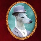 Whippet Jewelry Brooch Handcrafted Ceramic -  Gentleman with Top Hat