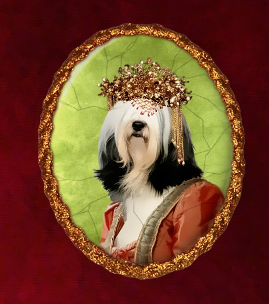 Tibetan Terrier Jewelry Brooch Handcrafted Ceramic - Queen