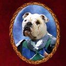 English Bulldog Jewelry Brooch Handcrafted Ceramic - Knight