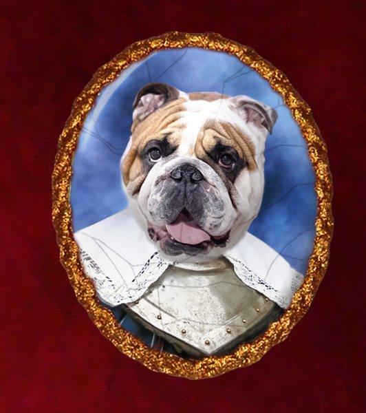English Bulldog Jewelry Brooch Handcrafted Ceramic - Soldier