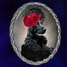 English Cocker Spaniel Jewelry Brooch Handcrafted Ceramic - Black Lady
