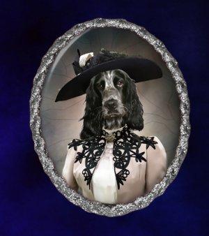 English Cocker Spaniel Jewelry Brooch Handcrafted Ceramic - Retro Lady