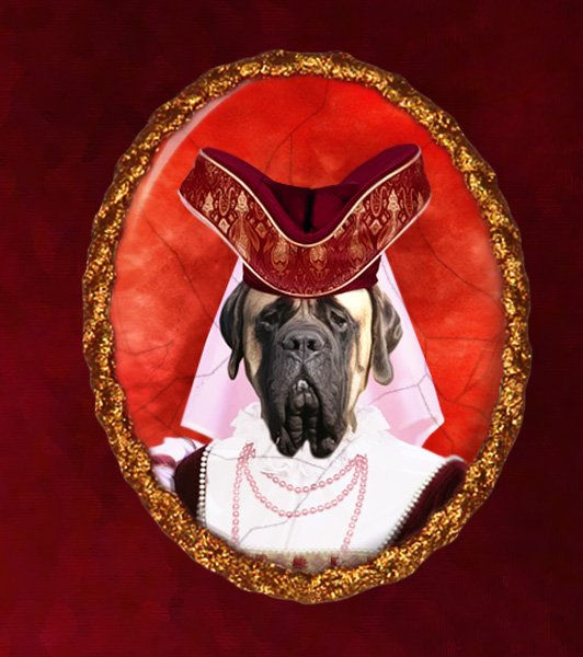 English Mastiff Jewelry Brooch Handcrafted Ceramic - Middle Age Lady