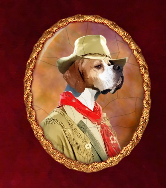 English Pointer Jewelry Brooch Handcrafted Ceramic - Cowboy