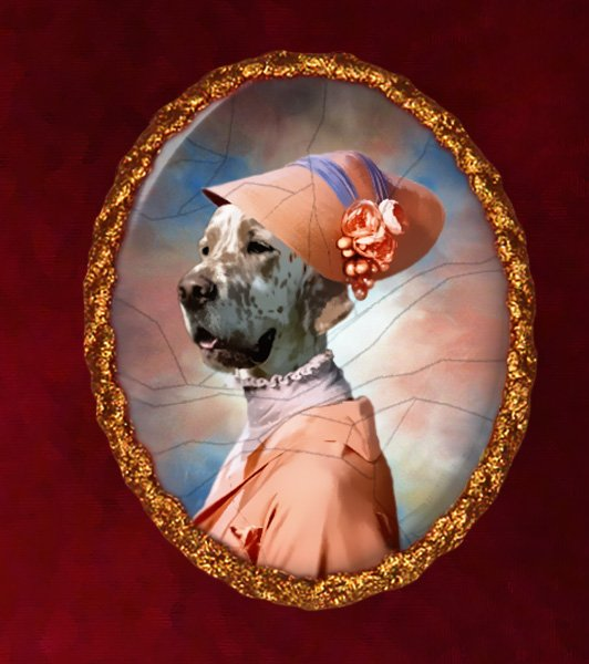 English Setter Jewelry Brooch Handcrafted Ceramic - My Fair Lady