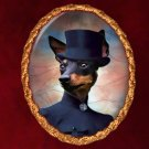 English Toy Terrier Jewelry Brooch Handcrafted Ceramic - Noble Lady