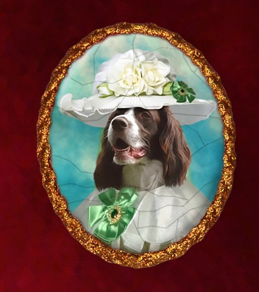 French Spaniel Jewelry Brooch Handcrafted Ceramic - Noble Lady