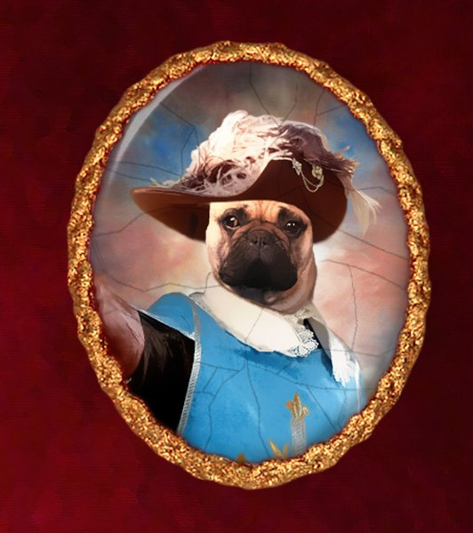 French Bulldog Jewelry Brooch Handcrafted Ceramic - Musketeer