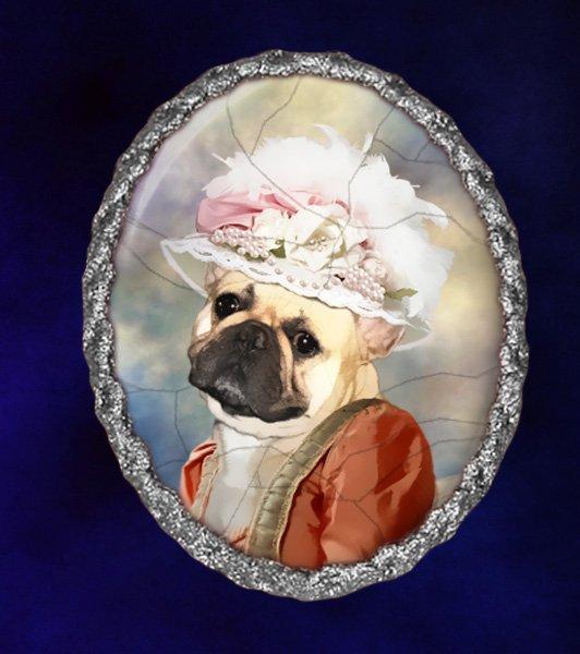 French Bulldog Jewelry Brooch Handcrafted Ceramic - Princess