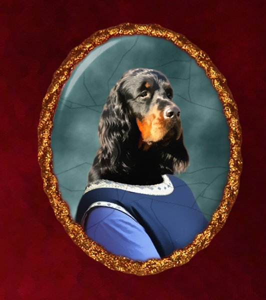 Gordon Setter Jewelry Brooch Handcrafted Ceramic - Middle Age Lady
