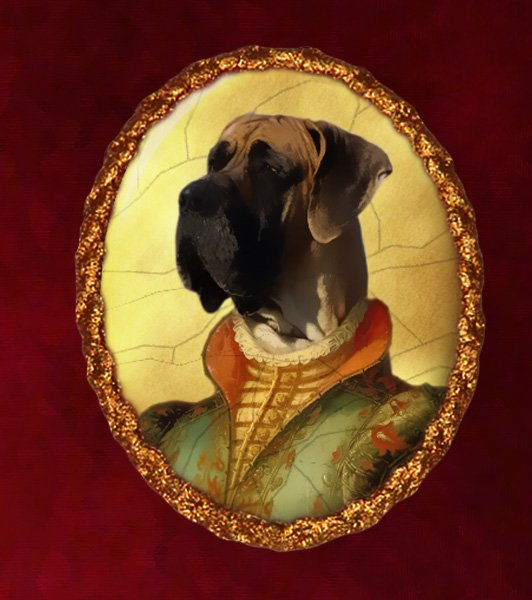Great Dane Jewelry Brooch Handcrafted Ceramic - Noble Lady