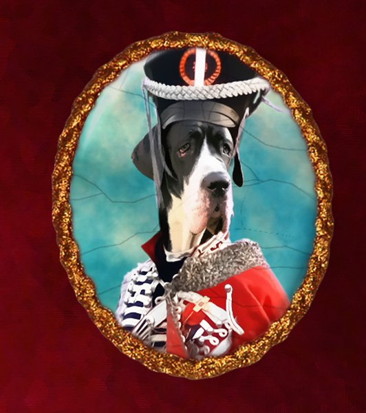 Great Dane Jewelry Brooch Handcrafted Ceramic - Soldier