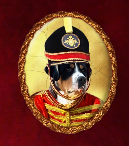 Greater Swiss Mountain Dog Jewelry Brooch Handcrafted Ceramic - Soldier