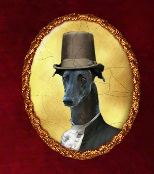 Greyhound Jewelry Brooch Handcrafted Ceramic - Gentleman