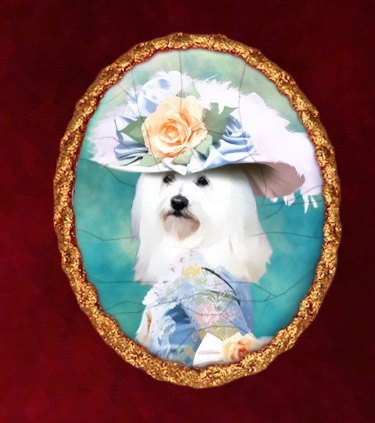 Havanese Jewelry Brooch Handcrafted Ceramic - Blue Lady