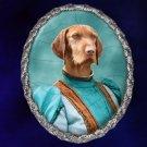 Vizsla Jewelry Brooch Handcrafted Ceramic - Blue Lady