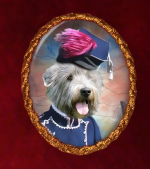 Irish Glen of Imaal Terrier Jewelry Brooch Handcrafted Ceramic - Hussar Lady