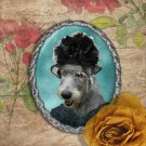 Irish Wolfhound Jewelry Brooch Handcrafted Ceramic - Black Lady Silver Frame
