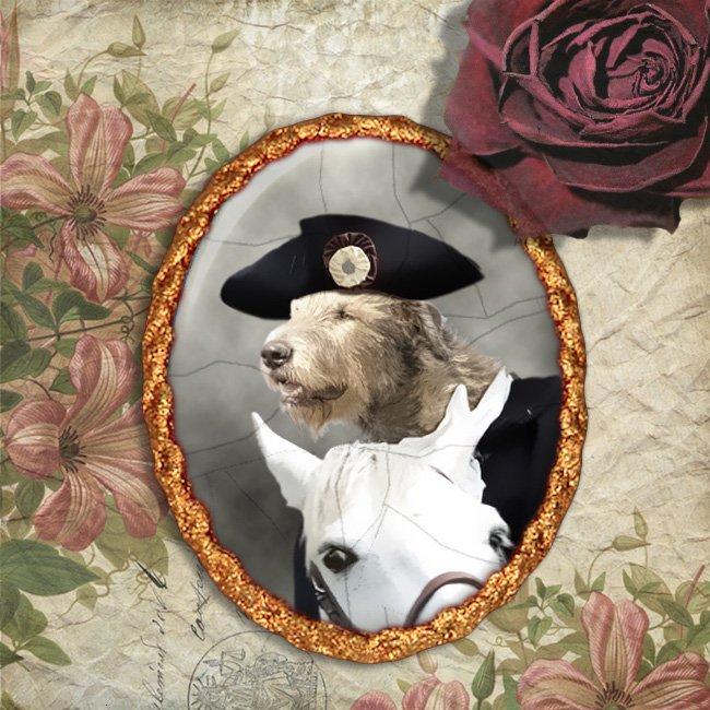 Irish Wolfhound Jewelry Brooch Handcrafted Ceramic - Horserider Gold Frame