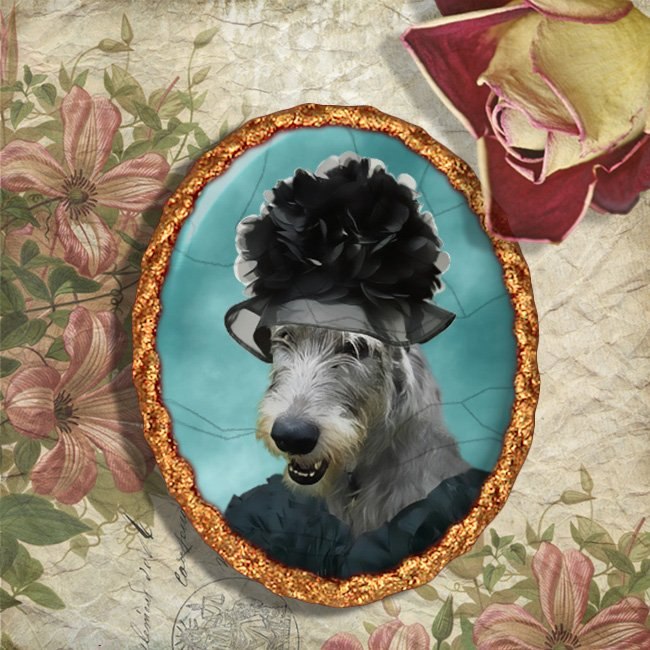 Irish Wolfhound Jewelry Brooch Handcrafted Ceramic - Black Lady Gold Frame