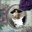 Irish Wolfhound Jewelry Brooch Handcrafted Ceramic - Horserider Silver Frame