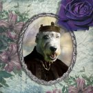 Irish Wolfhound Jewelry Brooch Handcrafted Ceramic - King Arthur Silver Frame