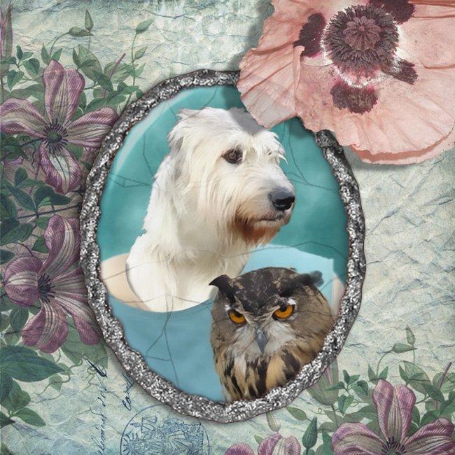 Irish Wolfhound Jewelry Brooch Handcrafted Ceramic - Lady Owl Silver Frame