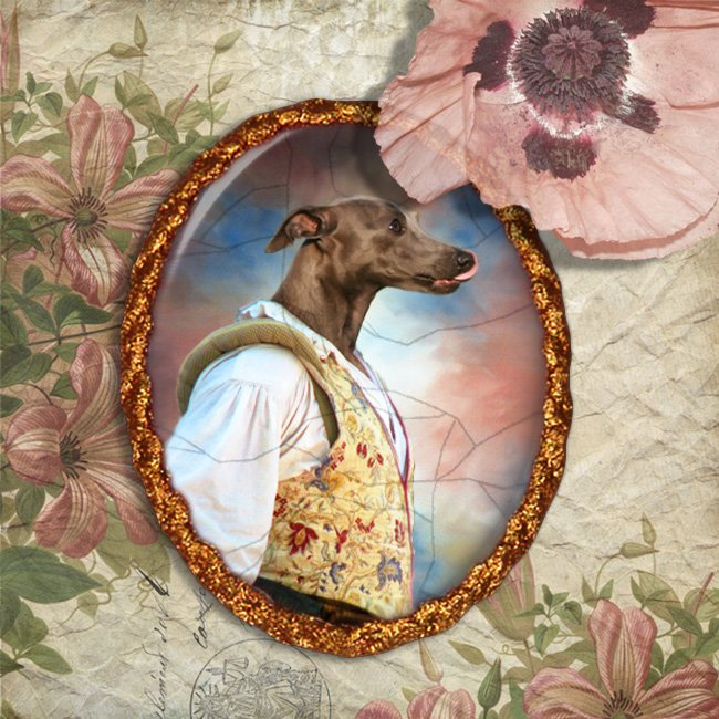 Italian Greyhound Jewelry Brooch Handcrafted Ceramic - Fencer Gold Frame