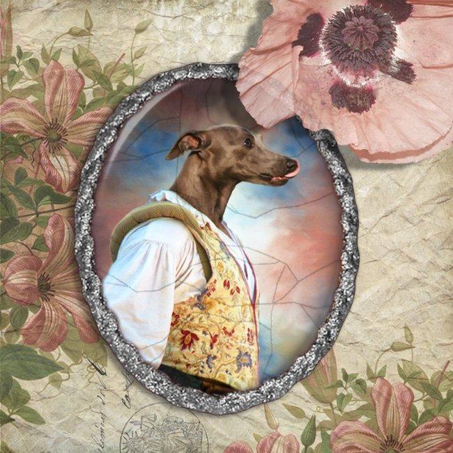 Italian Greyhound Jewelry Brooch Handcrafted Ceramic - Fencer Silver Frame