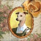 Italian Greyhound Jewelry Brooch Handcrafted Ceramic - Princess