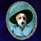 Jack Russell Terrier Jewelry Brooch Handcrafted Ceramic - Blue Lady Silver