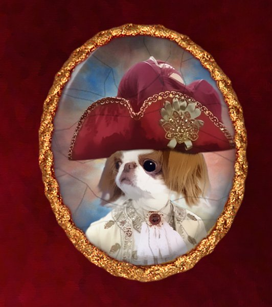 Japanese Chin Jewelry Brooch Handcrafted Ceramic - King