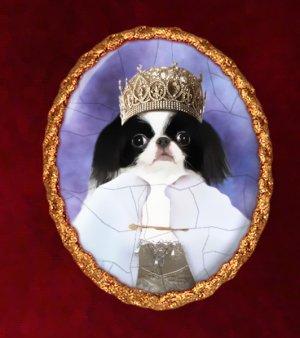 Japanese Chin Jewelry Brooch Handcrafted Ceramic - Queen