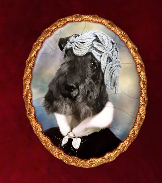 Kerry Blue Terrier Jewelry Brooch Handcrafted Ceramic - Black Lady Gold Frame