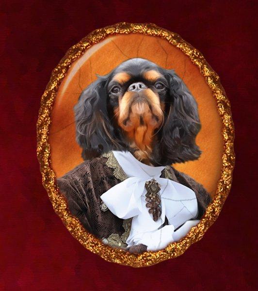 King Charles Spaniel Jewelry Brooch Handcrafted Ceramic - Royal Gentleman