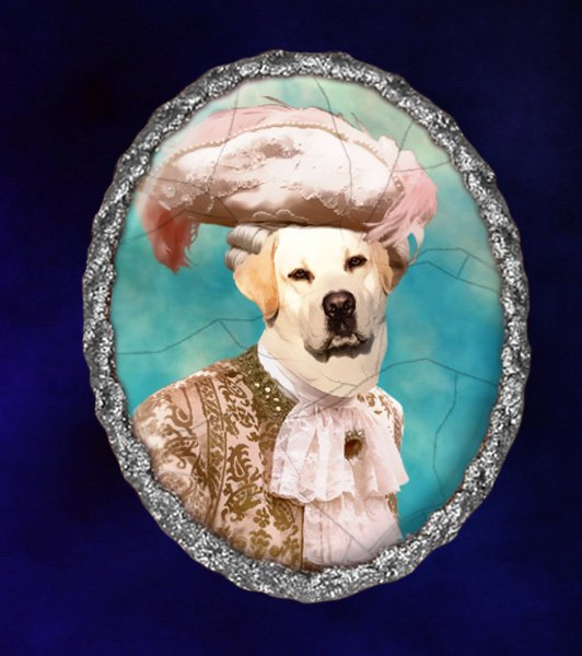 Labrador Retriever Jewelry Brooch Handcrafted Ceramic - Duke Silver Frame