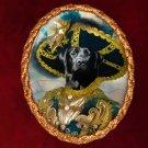 Labrador Retriever Jewelry Brooch Handcrafted Ceramic - Pirate Gold Frame