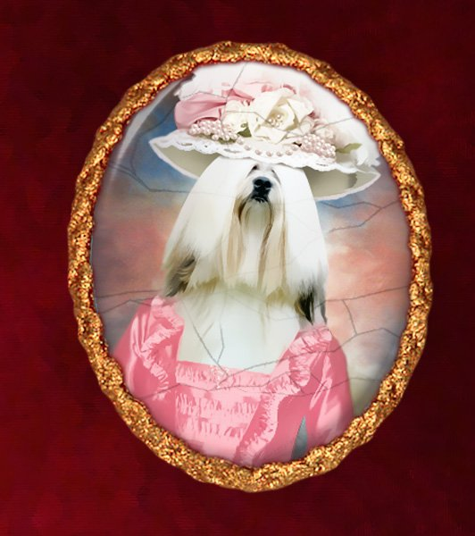 Lhasa Apso Jewelry Brooch Handcrafted Ceramic - Pink Lady Gold Frame