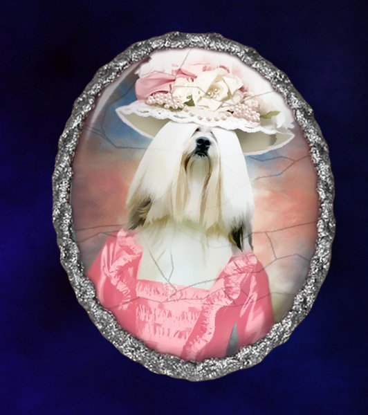 Lhasa Apso Jewelry Brooch Handcrafted Ceramic - Pink Lady Silver Frame
