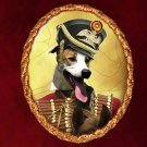 Hungarian Greyhound Jewelry Brooch Handcrafted Ceramic - Red Hussar