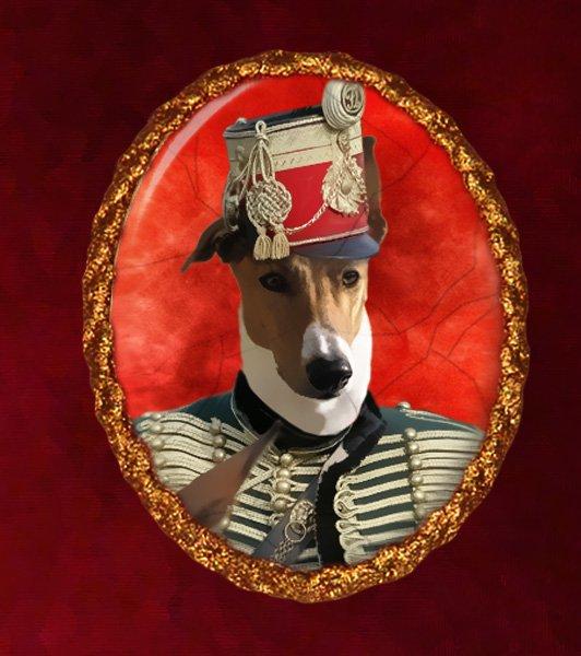 Hungarian Greyhound Jewelry Brooch Handcrafted Ceramic -  Hussar